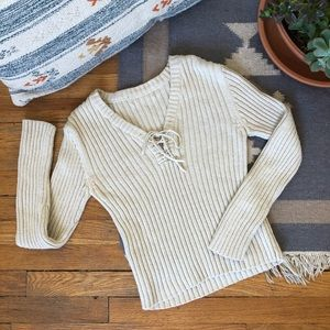 Vintage Ribbed Knit Fitted Sweater